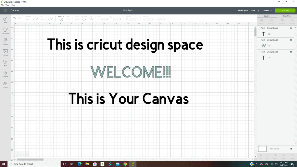 Welcome to the canvas area in cricut design space