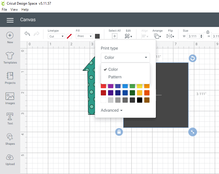 Options of fill are color and pattern