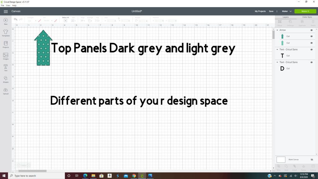 2 top panels in design space-dark grey and light gray