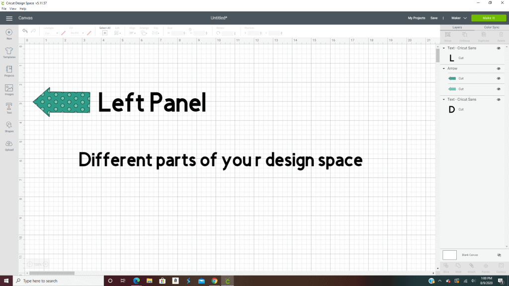 The left panel in design space