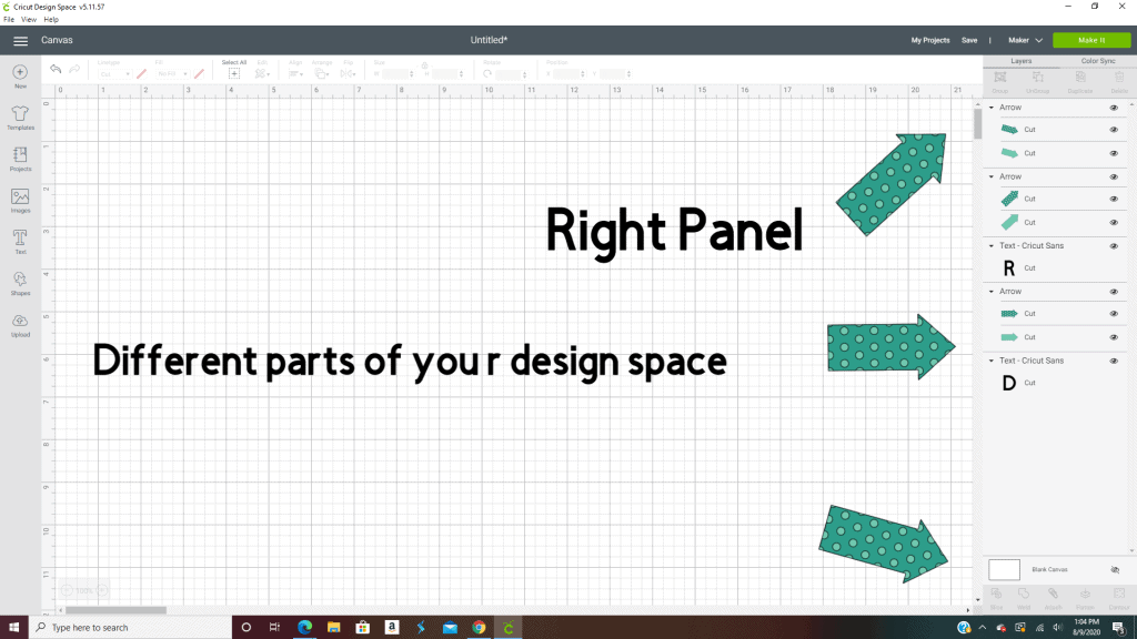 The right panel