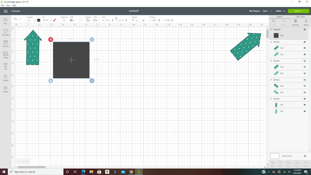 Cricut design space has different line types to choose from