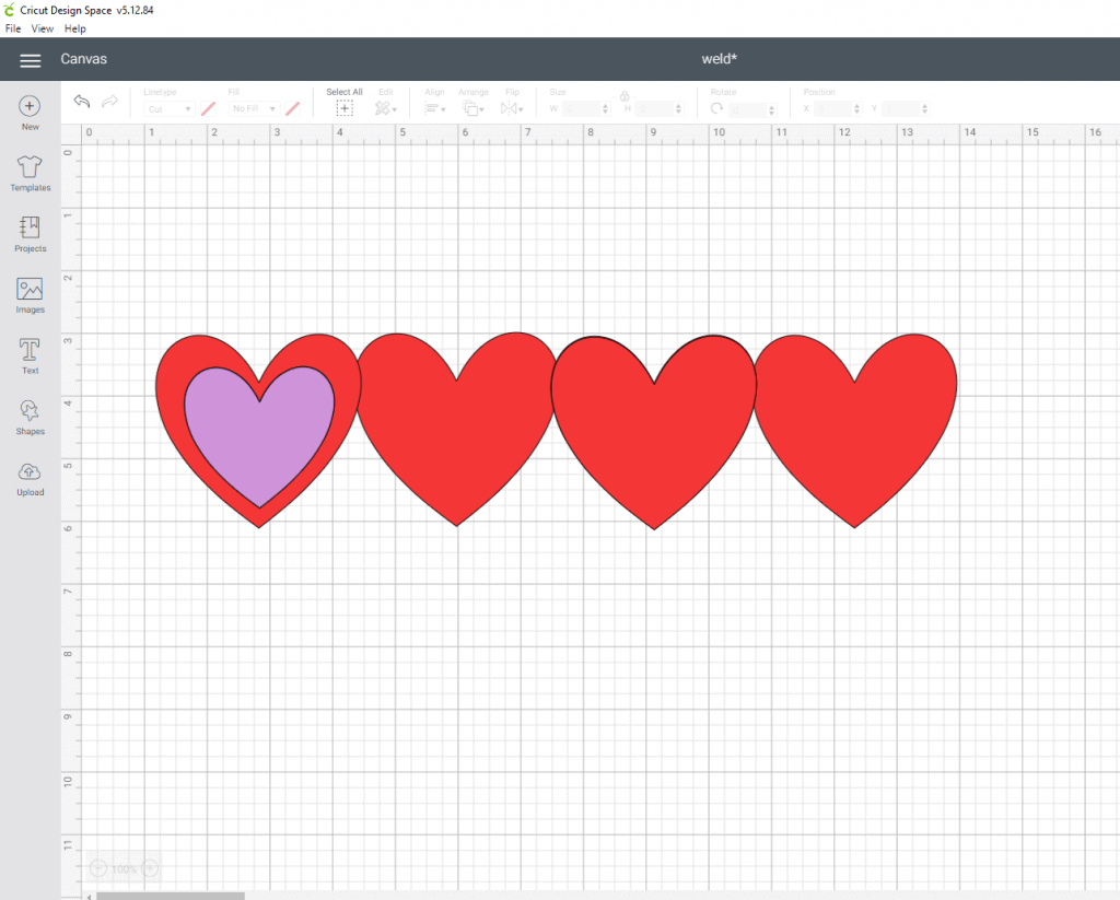 How do I make an outline of a shape? First lets duplicate another heart and size it smaller than the others. This is going to come down to personal choice. I then changed the color so I could see it. Make sure you select both images, align them, and adjust accordingly. Once you are happy lets go ahead and hit the slice tool.