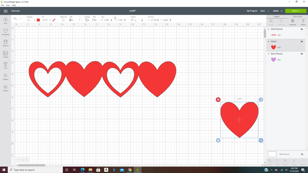 Make sure they are all overlapping about the same and once we are happy we are going to select those four hearts and weld them together for a small banner.