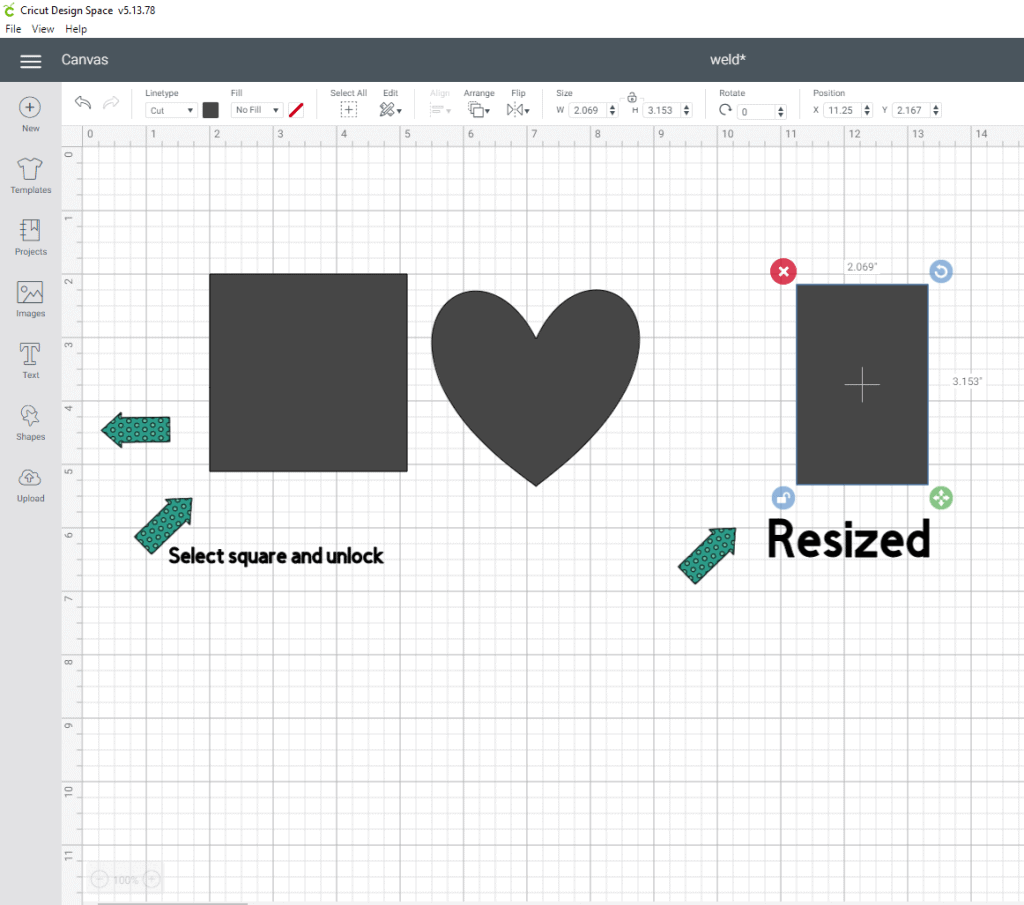 Using the flatten tool in cricut design space Alright lets go into shapes and grab a square and a heart. We are going to unlock the square and shape it like a gift tag. The size is really your choice.