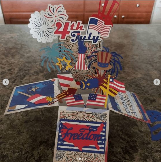 Handmade card I made for my parents for the fourth of July Cutting all the pieces with my cricut