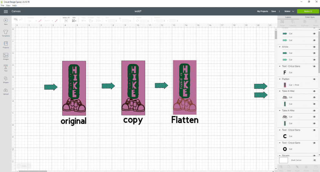 The flatten tool in cricut design space We are now going to take the image and size it how we want it on our bookmark. Once you are satisfied with the look go ahead and select both items, make a copy of it (Duplicate it), then go ahead a hit the flatten tool.