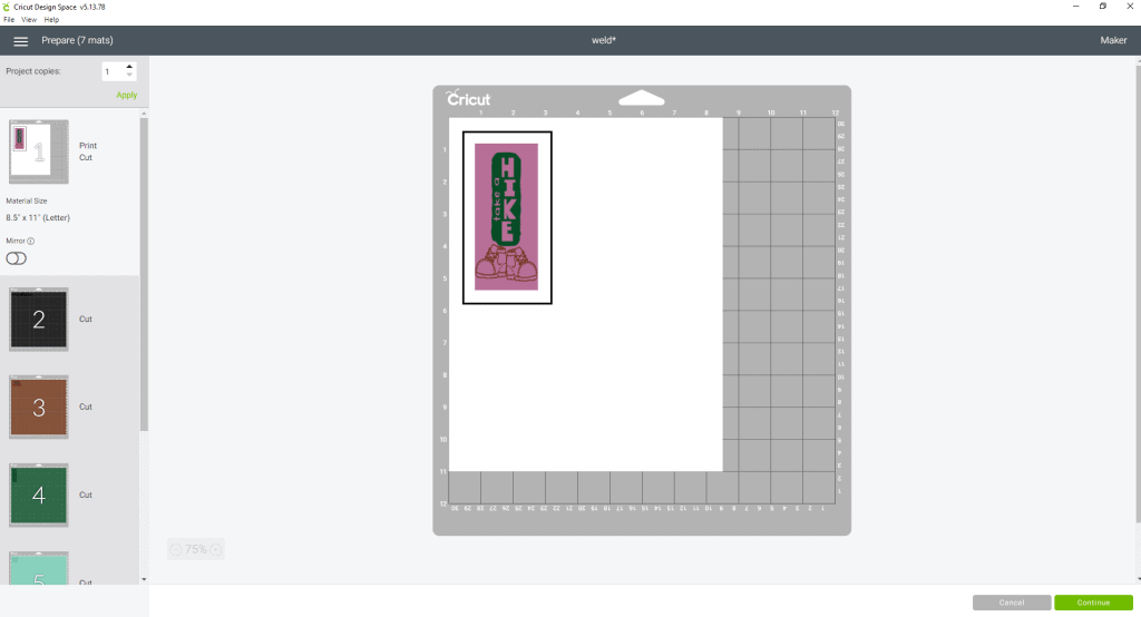 Next you would hit the Make It button and your bookmark should look like this. You would then continue on with the prompts and send it to your home printer, and then cut by your cricut machine.