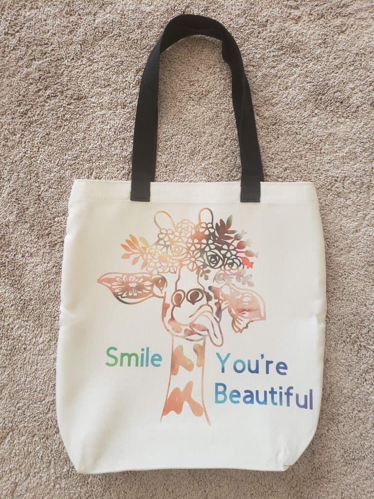 Working with templates in cricut design space. My finished tote bag