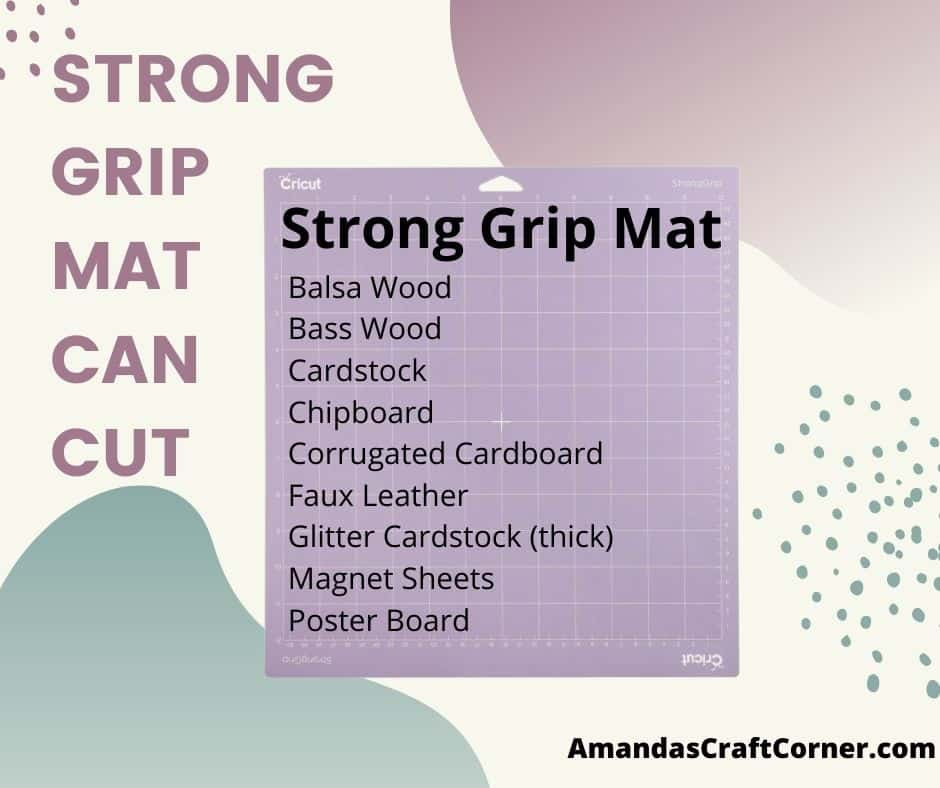The strong grip mat is purple and is designed for thick heavier material such as chipboard. This mat has a super strong grip, but sometimes it needs a bit of help to hold down that thicker material so I always have a roll of painters tape near by to tape the edges down on the mat to make sure it stays in place while our machine is hard at work!