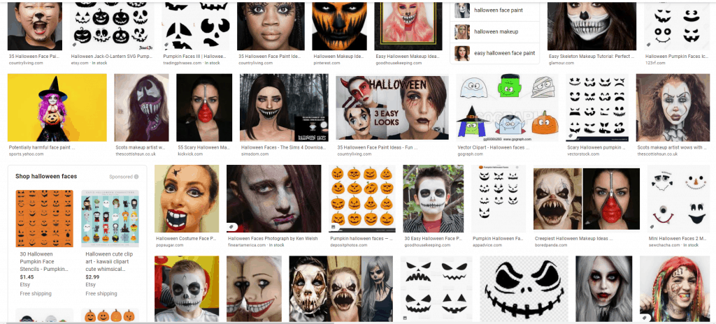 Google search for Halloween Faces