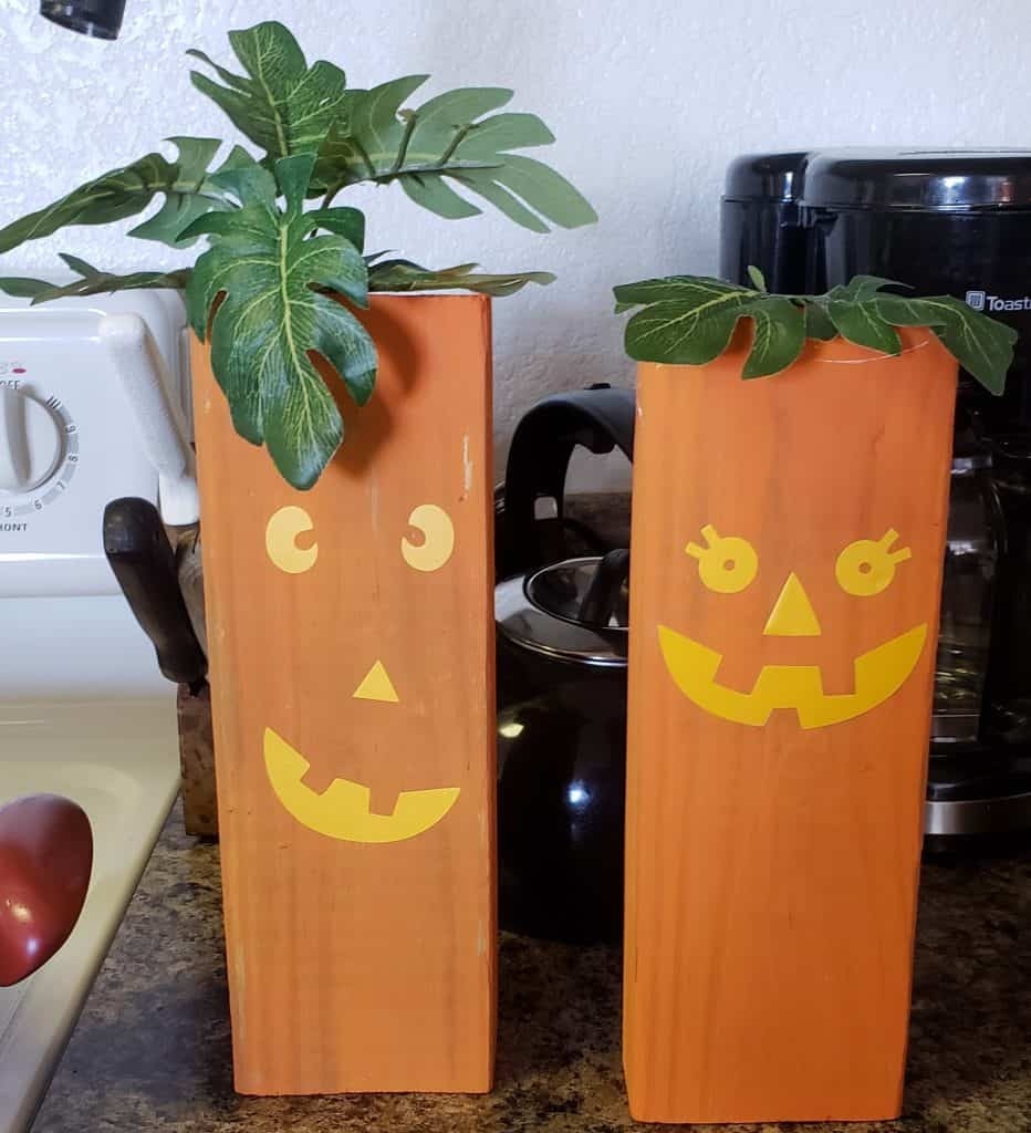 Halloween Family DIY Wood Project Tutorial- A Close up of the two different pumpkins we made so you can look and see how you can to do your DIY project