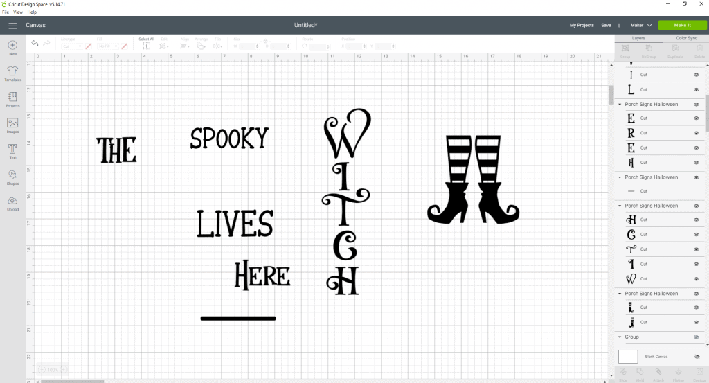 Ungrouping the SVG Bundle and Picking the sign we want to use for our DIY Porch Signs