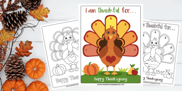 I am thankful Printable activity and coloring sheet created by Views from a Step Stool crafting up Gratitude