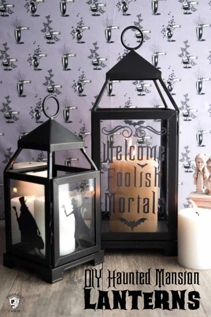 Melissa from Polka Dot Chair made these DIY Haunted Mansion Lanterns because she's a huge fan of the Haunted Mansion ride at Disney World.