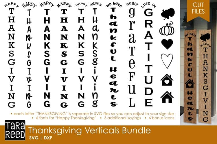 Thanksgiving Vertical Signs to make Gratitude signs for your porch. Created by Tara Reed Designs Lets craft up some gratitude sign for our porch!