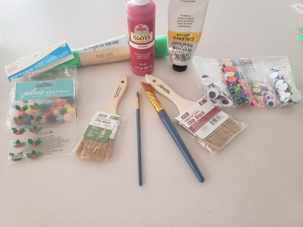 Materials needed for this Cute DIY Holiday Paint Brushes