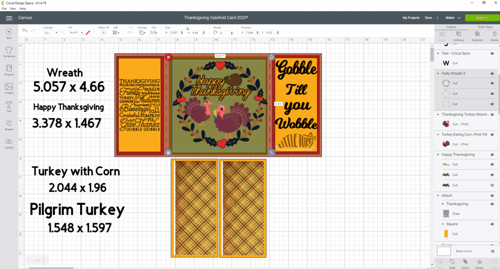 Sizing all the images to fit the Gatefold card for Thanksgiving.