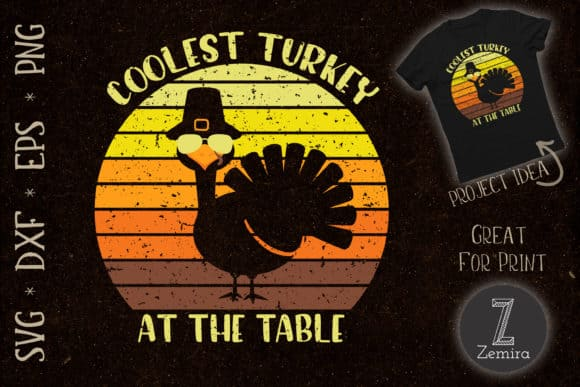 This awesome SVG file-The Coolest Turkey at the Table- created by Zemira  will show your Thanksgiving spirit and I am sure it will get some laughs because its just the cutest! You could make shirts for the family or as a gift!