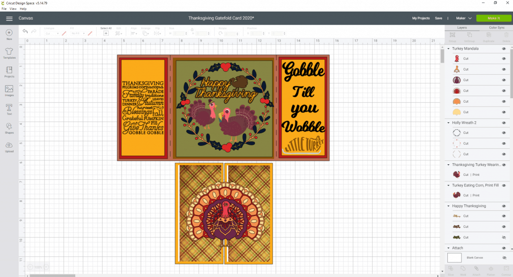 Sizing for the 3D Turkey for the front of the gatefold card for Thanksgiving