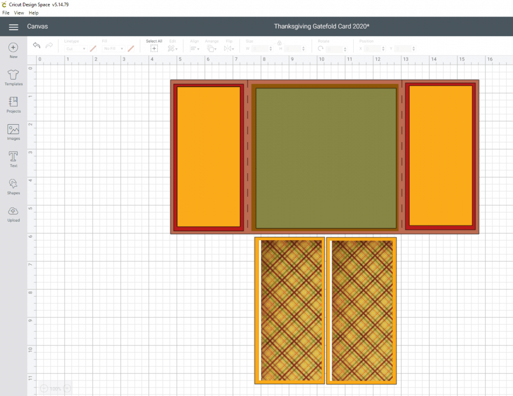 Thanksgiving Gatefold Card Tutorial- Changing the panels to the pattern we are using. What the finished card base looks like