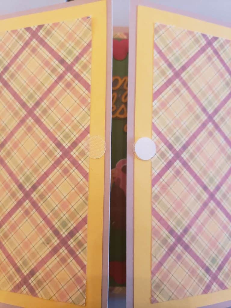 Where I applied my Velcro on the front of the card so that the 3D Turkey would attach and hold the card closed