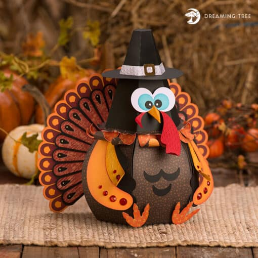 This cute little Turkey Google Gobbler Treat Box SVG would be a great centerpiece that others will be talking about for days! It will also look great on mantels and or on end tables. This Googly Gobbler Treat Box can also be a surprise gift box for your guests this Thanksgiving.