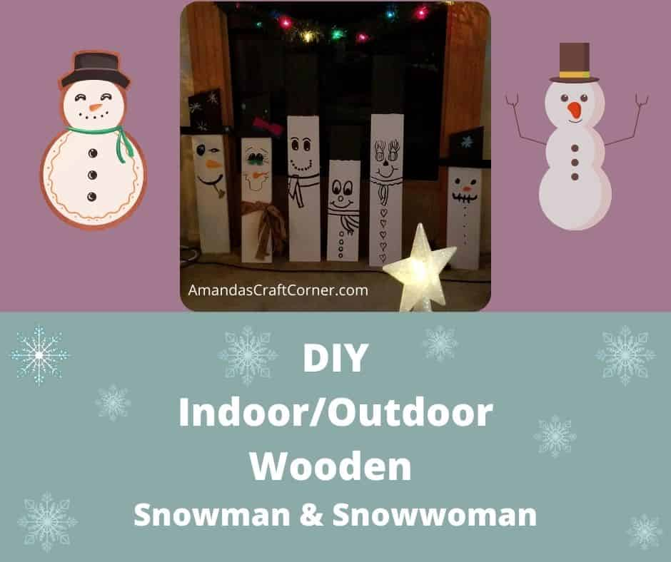 DIY Wooden Snowmen and Snowwomen
