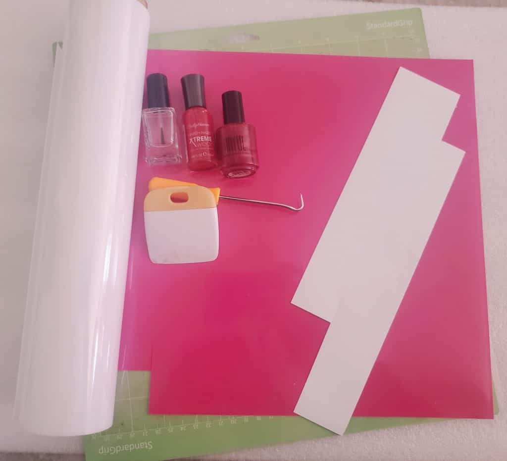 Materials needed for our DIY Valentine's Day Nail Decals