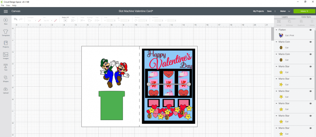 Final touches on our DIY Valentine's Day Slot machine card