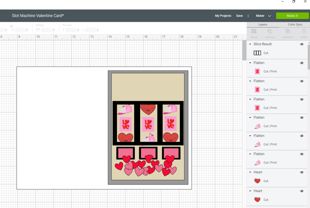 Placing the Valentine's Day images in our reels for the slot machine