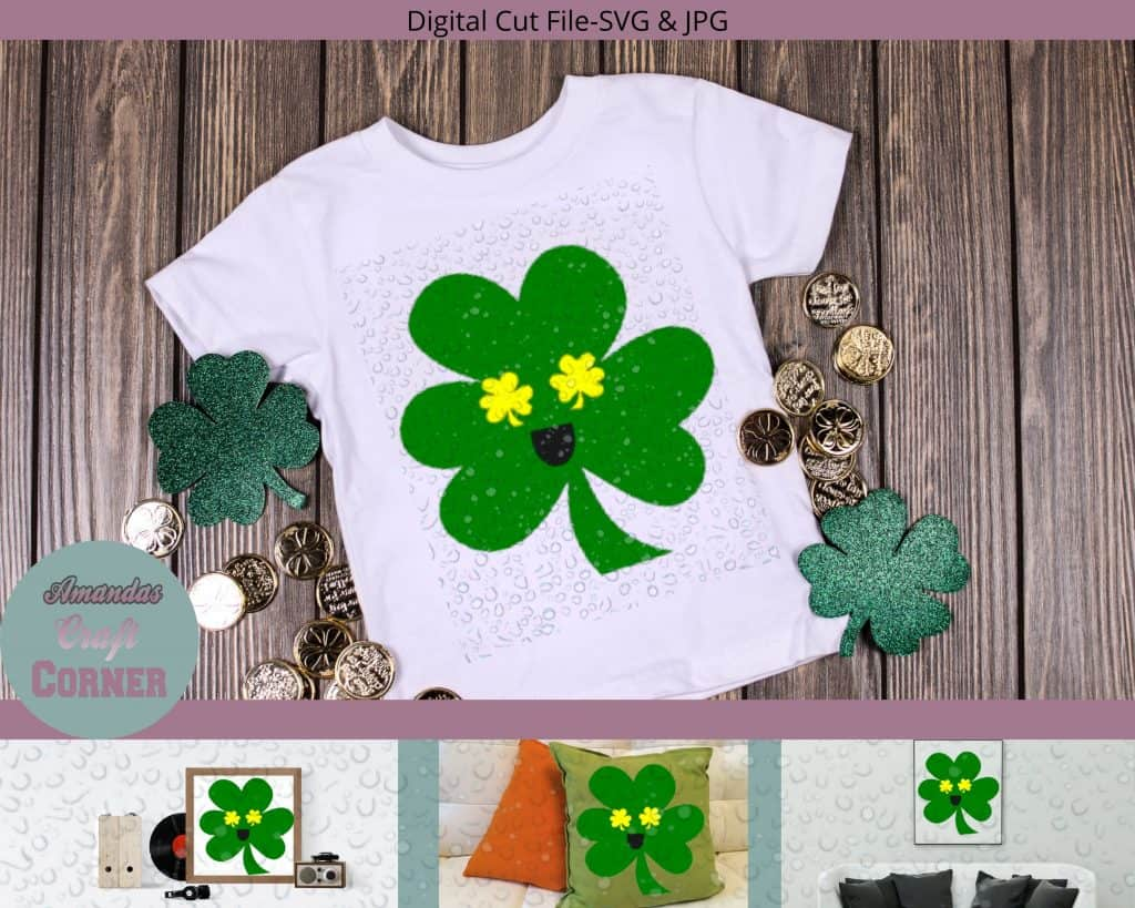 Smiley Shamrock SVG Cut File-Amandas Craft Corner