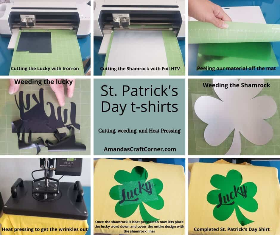 Quick step by step Guide for all the steps to making this DIY St. Patrick's Day t-shirts with our cricut using Iron-on (HTV)