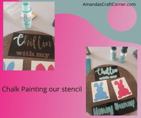 We are now ready to Chalk Paint our DIY Round Easter Home Decor Sign
