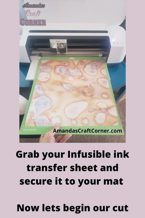 Now lets secure our infusible ink transfer sheet to our cutting mat so we can cut this beautiful design out