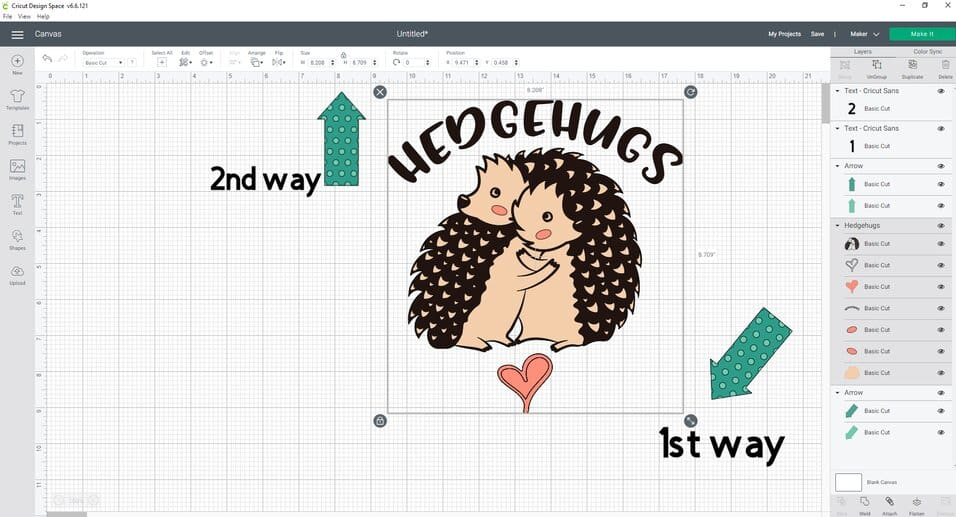 Resizing our HedgeHugs SVG cut file to fit the Wood Sign we are making with HTV using our cutting machine- 2 different ways to resize in design space