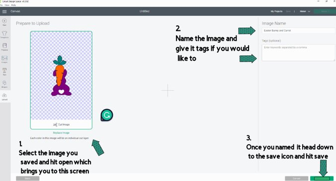 Select the Image (file) that you saved and hit open which brings you to this screen in cricut design space. Next lets name it and give it tags if we want. Then let us hit the save icon
