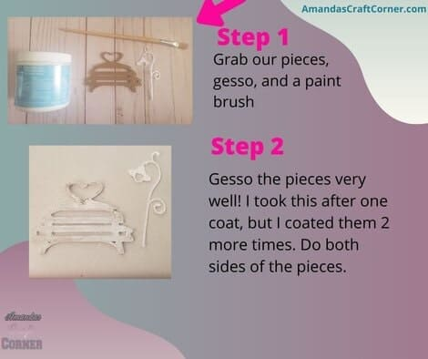 The steps we are going to take next. We are going to gather our pieces for our DIY Multi-Media Shadow Box, gesso and a paint brush.  We are now going to coat the pieces with gesso very well! This stiffens the pieces so they are not so flimsy.