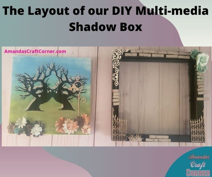 Now we are ready to figure out the layout of our shadow box. I laid out what I want on the outside of the shadow box and all the pieces I plan to use on this DIY Multimedia shadow box!