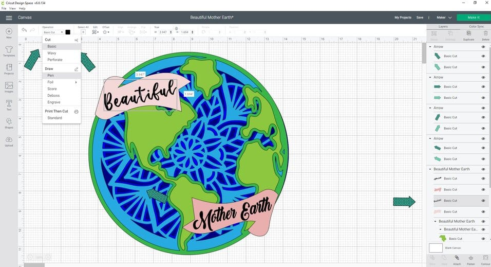 If you are making this Beautiful Mother Earth Day SVG Cut file smaller than I did, you may want to change the text line from a cut to a draw line. Here are the steps  to do that