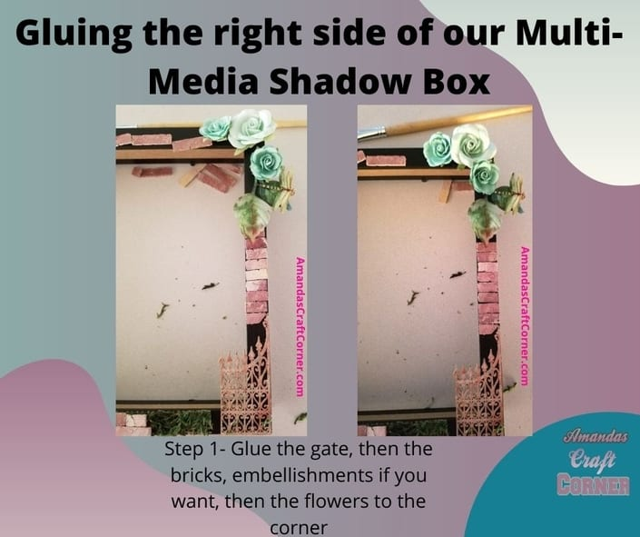 Gluing down the right side of our multi media shadow box just like the picture shows.