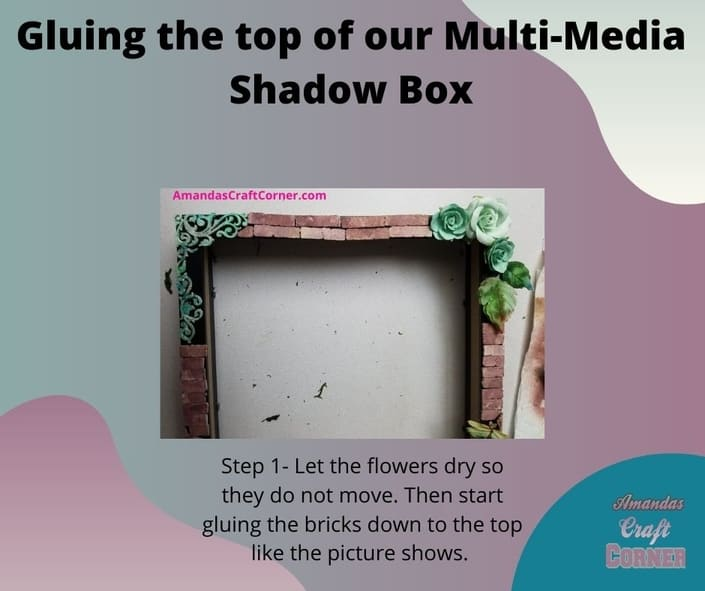 Gluing down the top part of our multi-media shadow box