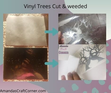 Cutting the Vinyl trees and weeding them out so we can use them to create our DIY Multi-media Shadow Box.