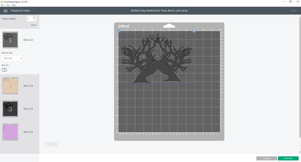 Working in cricut design space. WE hit the make it icon and are brought to a screen that looks like this. I call it the editing screen. We are see our mat lay out and are ready to continue on.