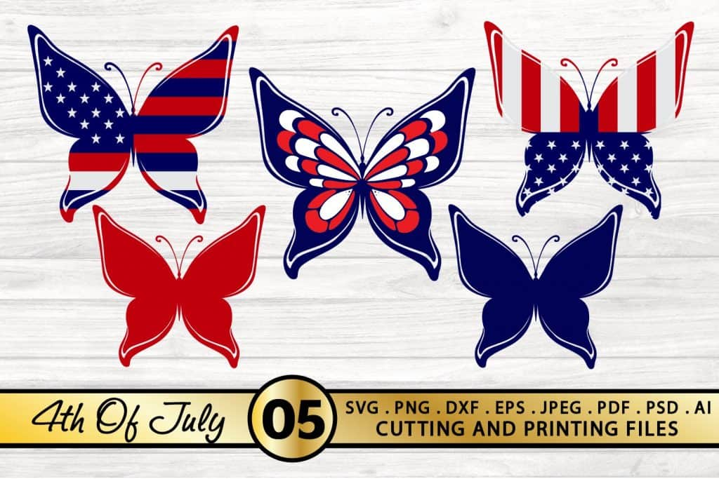 4th of July Day Butterflies SVG- Crafting projects