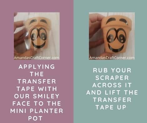 Applying the Vinyl Smile Face to our mini Planter pots