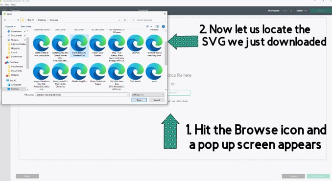Browsing and locating a file that you downloaded in Cricut Design Space