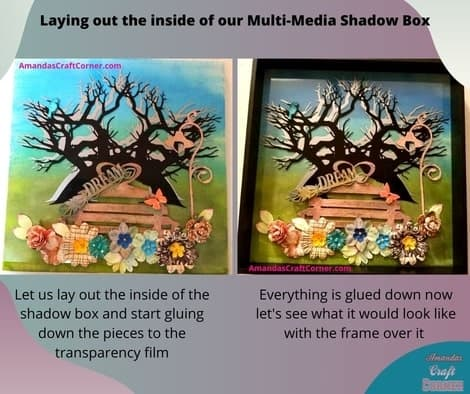 Laying out the inside of our multimedia shadow box. Once we are happy with the layout we are now ready to start gluing the pieces.