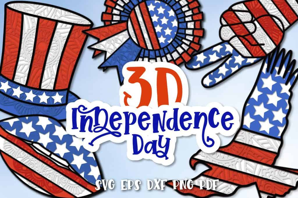 3d independence day svg cut file
