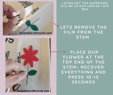 DIY Gardening Tote bag plus SVG Now lets raise the film for the words and take the film off the stem. Now we are going to place the flower at the top end of the stem. Heat press for about 10-15 seconds.